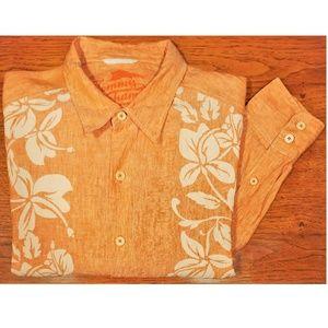 Tommy Bahama Orange Linen Summer Shirt Sz XL
